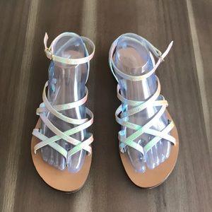 J. Crew Clara Iridescent Hologram Sandals